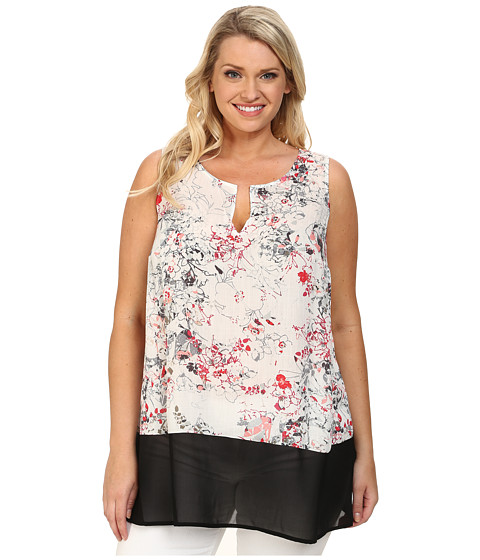 DKNY Jeans - Plus Size Sketchy Floral Print and Color Block Tank Top (Coral) Women