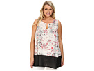 DKNY Jeans Plus Size Sketchy Floral Print and Color Block Tank Top