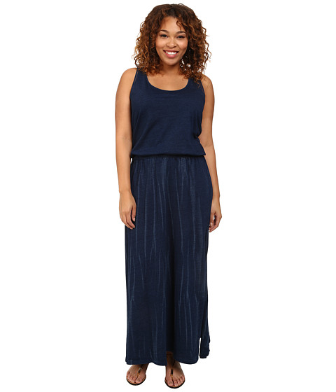 DKNY Jeans - Plus Size Knit Denim Maxi Dress w/ Mesh (Indigo) Women