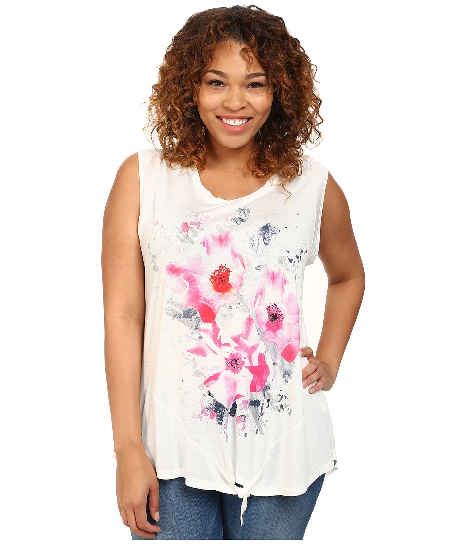 DKNY Jeans - Plus Size Summer Floral Tee (White) Women's Short Sleeve Pullover