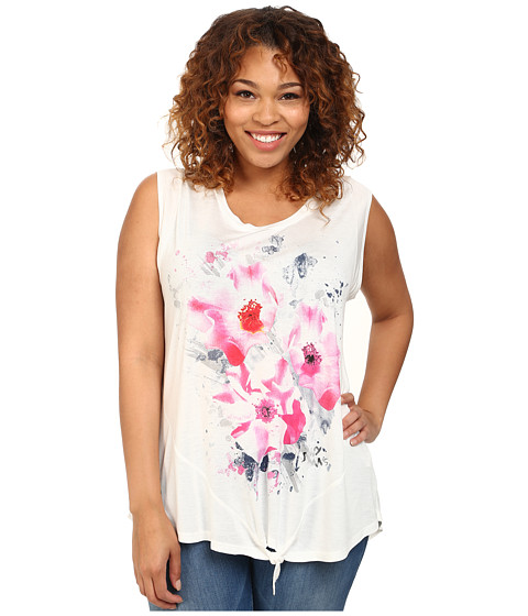 DKNY Jeans - Plus Size Summer Floral Tee (White) Women