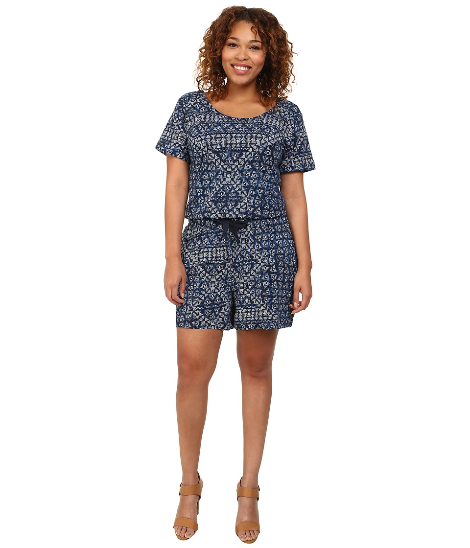 DKNY Jeans - Plus Size Batik Print Romper (Mood Indigo) Women's Jumpsuit & Rompers One Piece