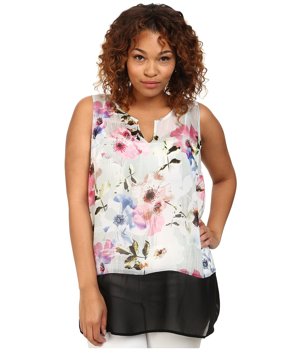 DKNY Jeans - Plus Size Misty Rose Print and Color Block Tank Top (Dove) Women's Sleeveless