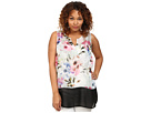 DKNY Jeans Plus Size Misty Rose Print and Color Block Tank Top