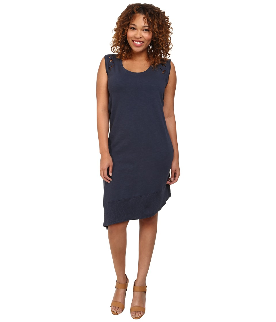 DKNY Jeans - Plus Size Embroidered Eyelet Dress (Mood Indigo) Women's Dress