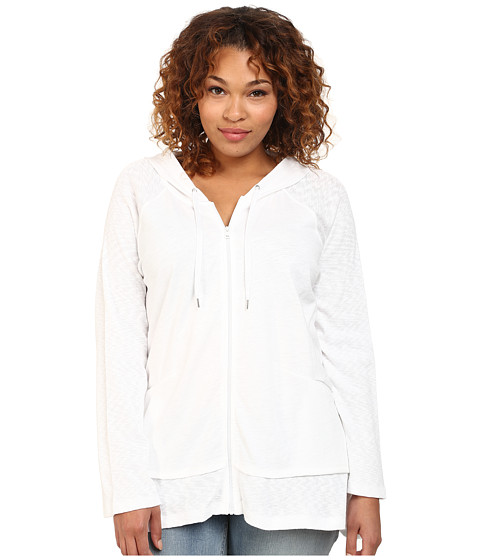 DKNY Jeans - Plus Size Zip Front Hoodie (White) Women