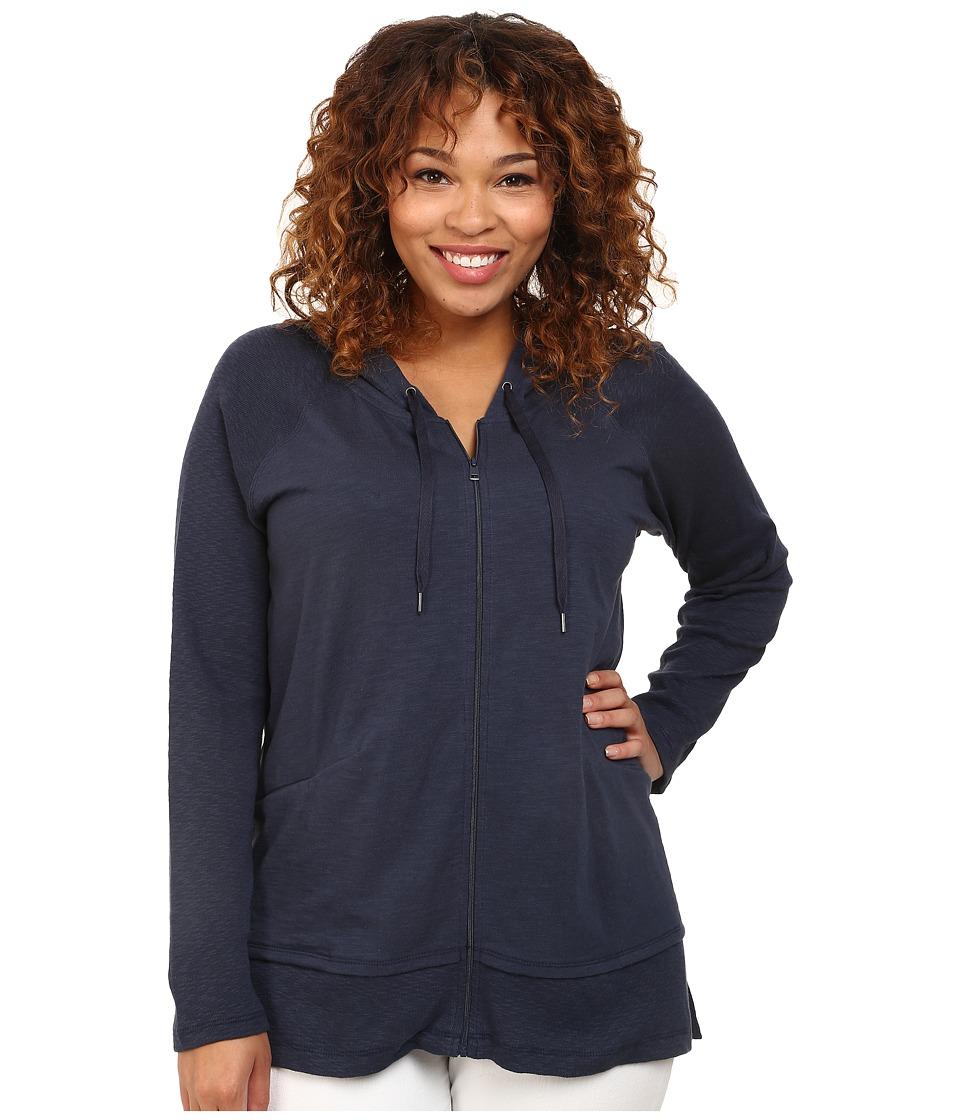 DKNY Jeans - Plus Size Zip Front Hoodie (Mood Indigo) Women