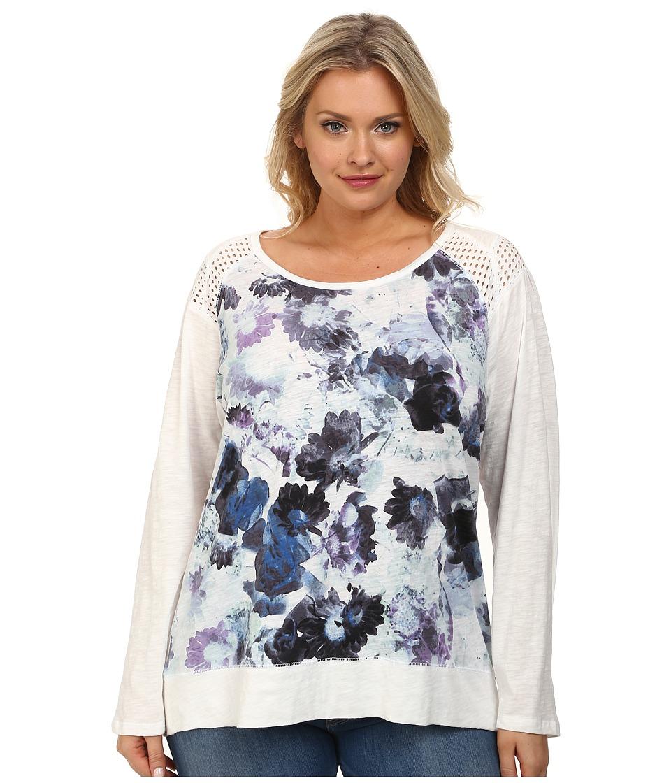 DKNY Jeans - Plus Size Floral Print Sweatshirt w/ Mesh Trim (White) Women