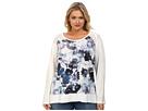 DKNY Jeans Plus Size Floral Print Sweatshirt w/ Mesh Trim