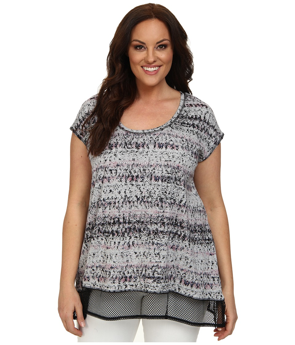 DKNY Jeans - Plus Size Garden Snake Mesh Trim Top (Lavender) Women's Short Sleeve Pullover