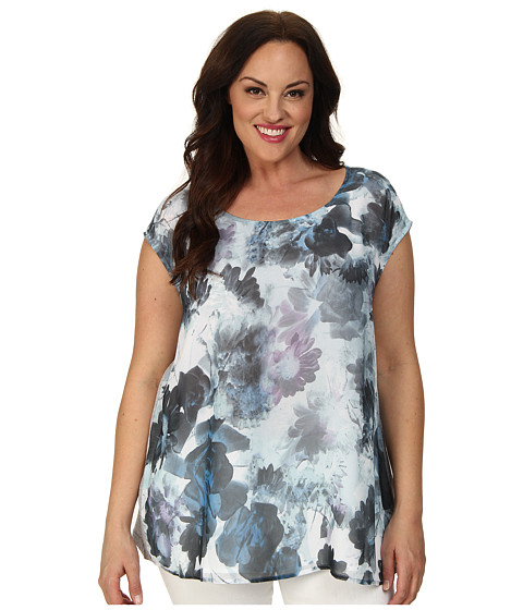 DKNY Jeans - Plus Size Sea Floral Print Tee w/ Knit Crossover Back Top (Cobalt) Women's T Shirt