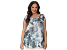 DKNY Jeans Plus Size Sea Floral Print Tee w/ Knit Crossover Back Top