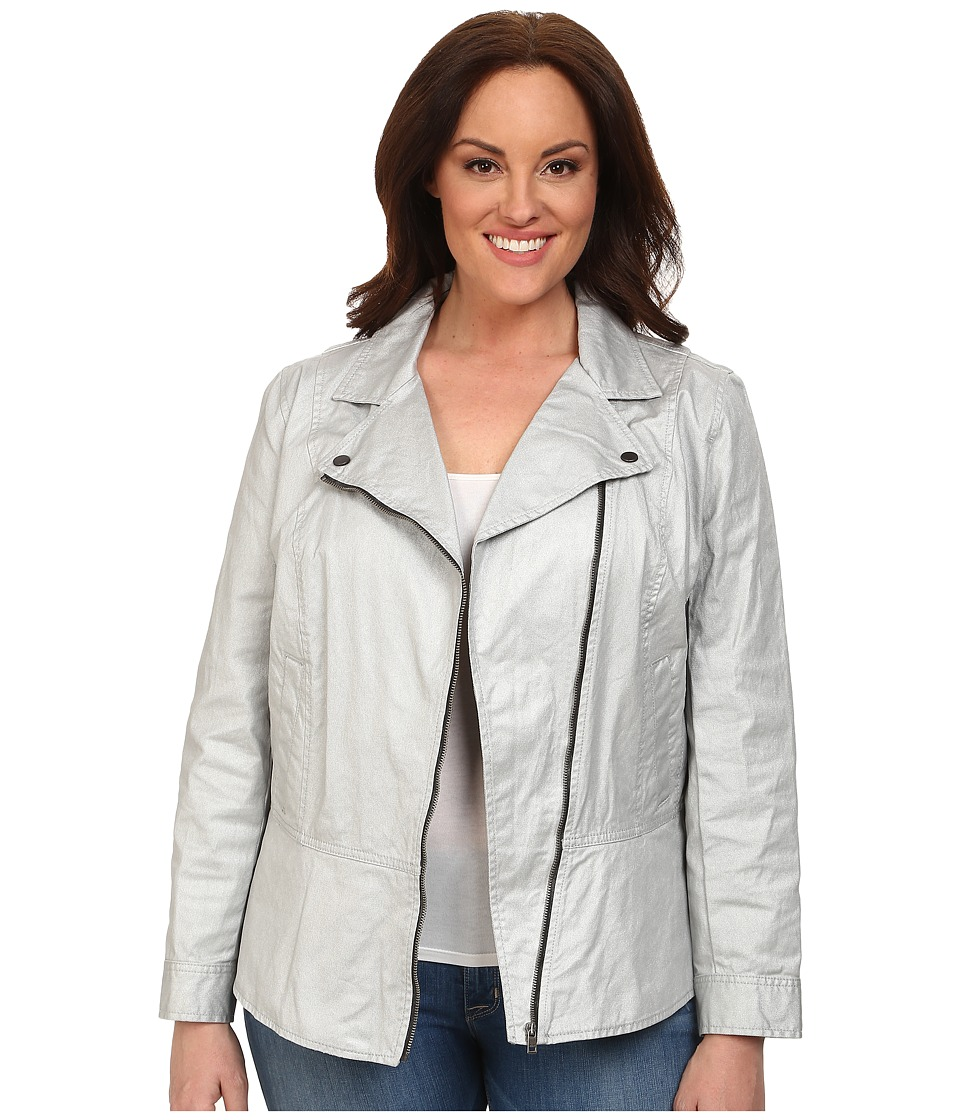 DKNY Jeans - Plus Size Coated Twill Biker Jacket (Silver) Women's Coat plus size,  plus size fashion plus size appare
