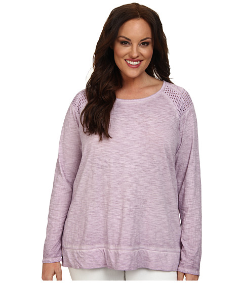 DKNY Jeans - Plus Size Dry Dye Eyelet Pieced Top (Lavender) Women's Long Sleeve Pullover