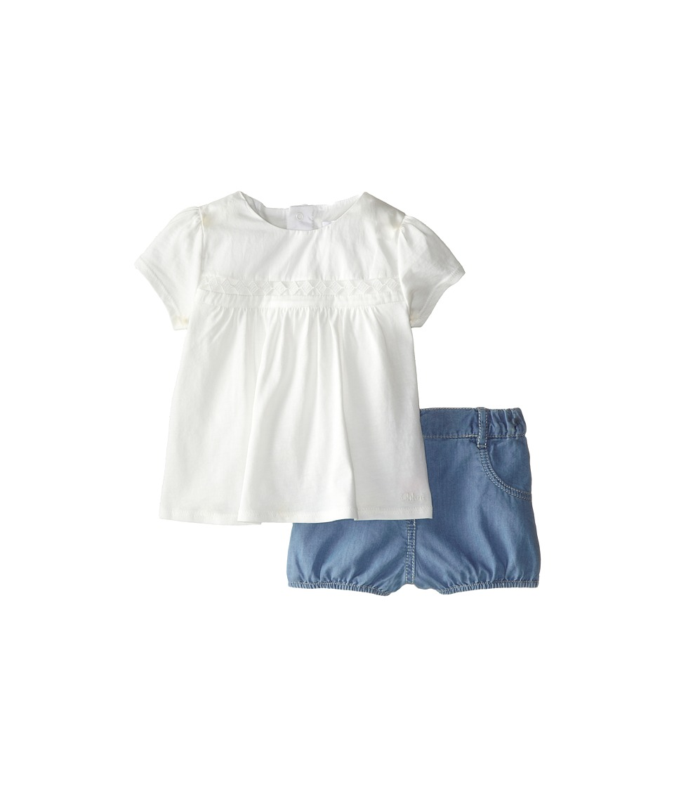 Chloe Kids - Top and Chambray Bubble Shorts Two-Piece Set (Infant) (White) Girl