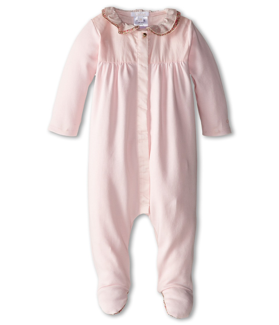 Chloe Kids - Footie w/ Liberty Print Trim (Infant) (Light Pink) Girl's Jumpsuit & Rompers One Piece