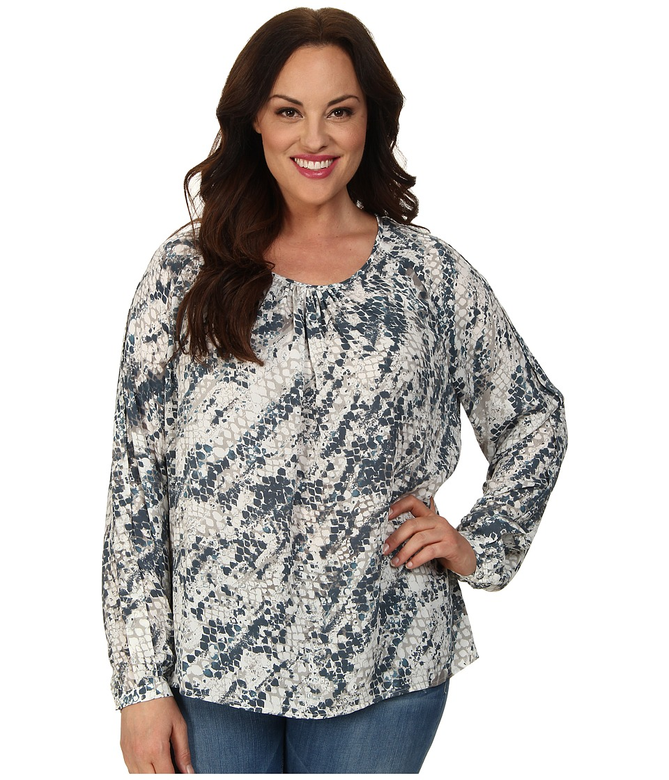 Mynt 1792 - Plus Size Raglan Chiffon Blouse (Blue) Women