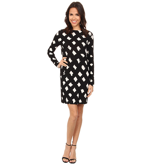 KAMALIKULTURE by Norma Kamali - Long Sleeve Easy Dress (Checker Dot) Women