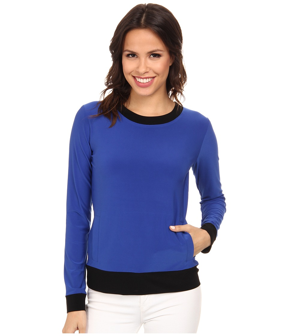 KAMALIKULTURE by Norma Kamali - Long Sleeve Sporty Top (True Blue/Black) Women's Clothing