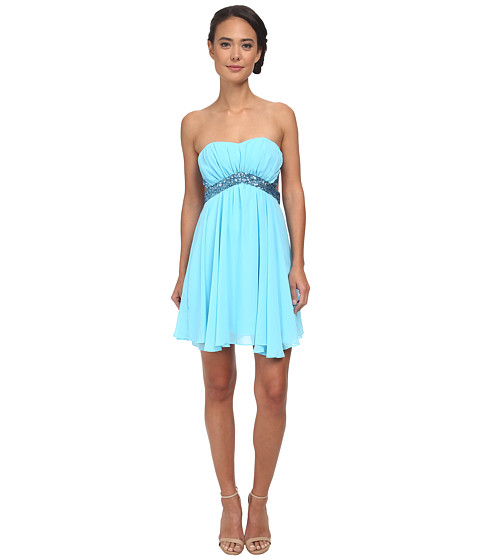 Alejandra Sky - Geneve Short Dress (Blue) Women