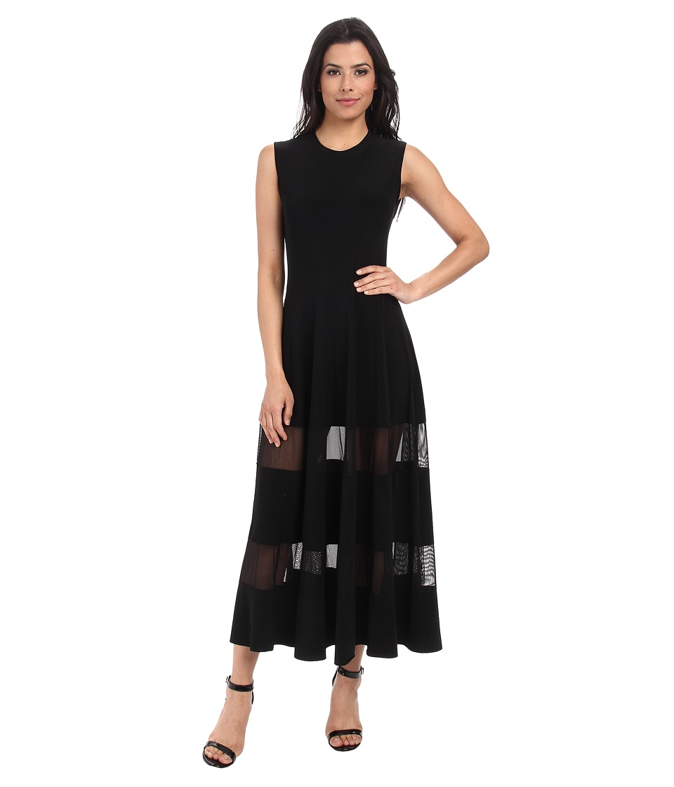 KAMALIKULTURE by Norma Kamali - Mesh Insert Flaired Midi (Black) Women's Dress