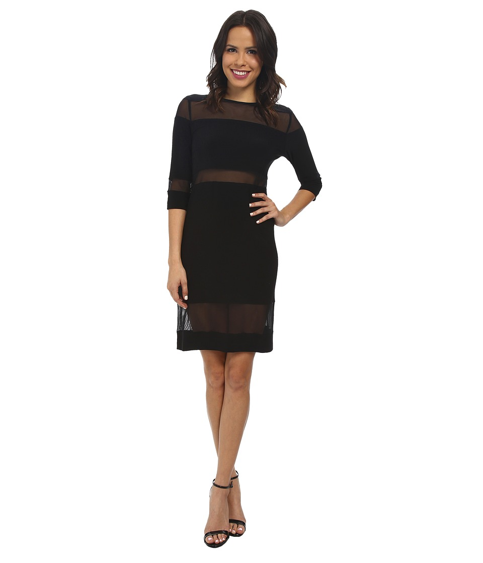 KAMALIKULTURE by Norma Kamali - Mesh Insert Dress (Black) Women's Dress