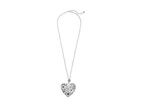 Betsey Johnson - Something New Necklace Heart Long (Crystal/Silver Ox Plate) Necklace