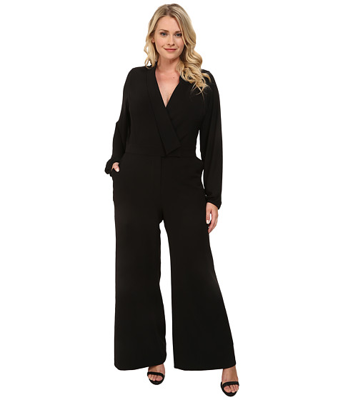 Mynt 1792 - Plus Size Sheer Sleeve Jumpsuit (Black) Women's Jumpsuit & Rompers One Piece