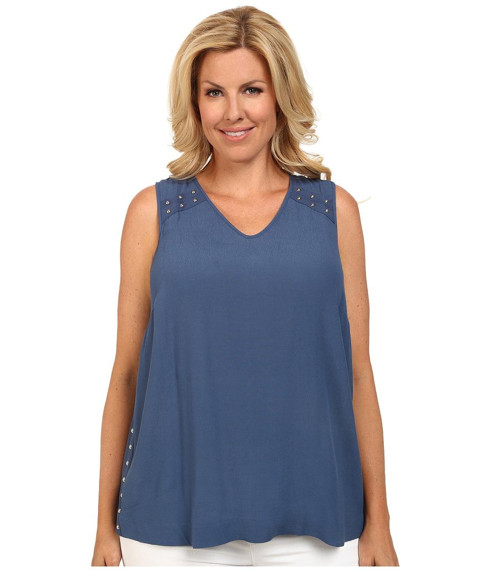 Mynt 1792 - Plus Size Studded V-Neck Top (Ensign Blue) Women's Sleeveless