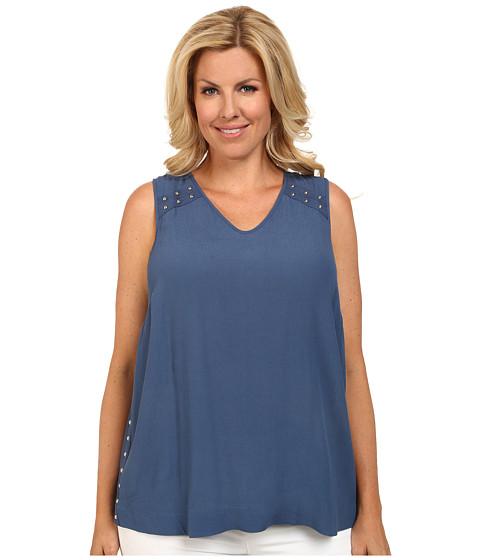 Mynt 1792 - Plus Size Studded V-Neck Top (Ensign Blue) Women