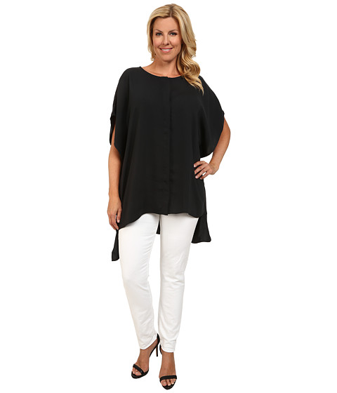 Mynt 1792 - Plus Size Combo Lace Blouse (Black) Women's Blouse