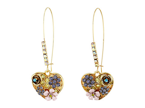 Betsey Johnson - Queen Bee Pave Heart Drop Earrings (Multi) Earring