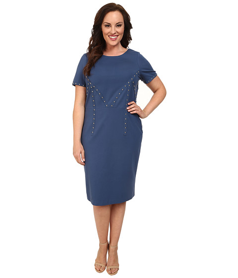 Mynt 1792 - Plus Size Studded Dress (Ensign Blue) Women's Dress