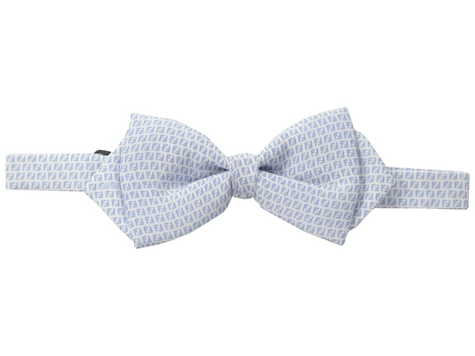 Fendi Kids - Logo Print Bow Tie (Little Kids/Big Kids) (White/Sky Blue) Ties