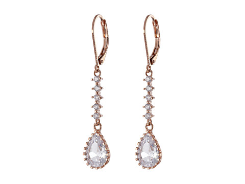 Betsey Johnson - Cubic Zirconia Teardrop Linears Earrings (Crystal/Rose Plate) Earring