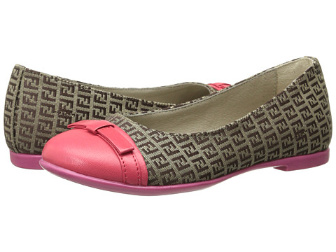 Fendi Kids - Ballet Flats w/ Contrast Toe Cap (Little Kid/Big Kid) (Coral) Girls Shoes