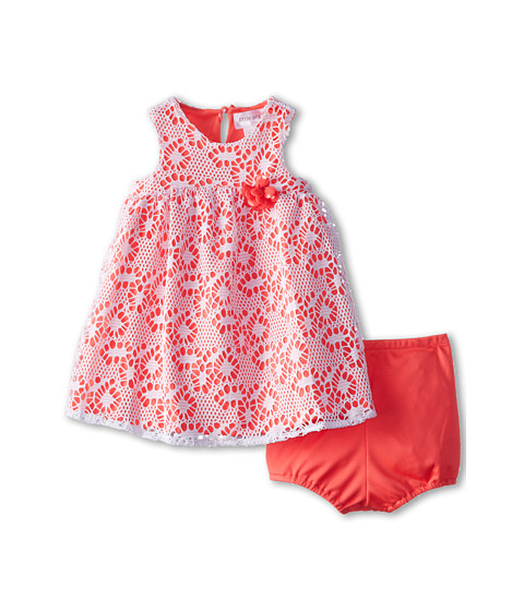 Us Angels - Sleeveless Racer Back Empire (Infant) (Neon Orange) Girl's Dress