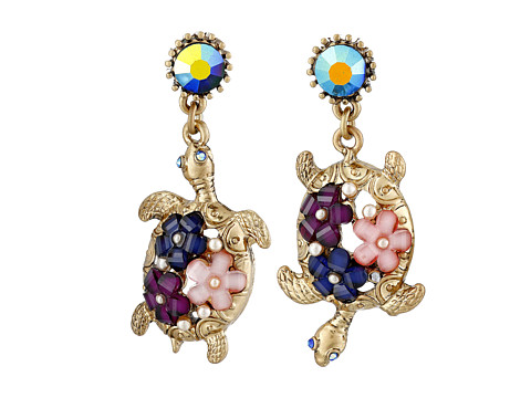 Betsey Johnson - Into The Blue Flower Turtle Drop Earrings (Multi) Earring