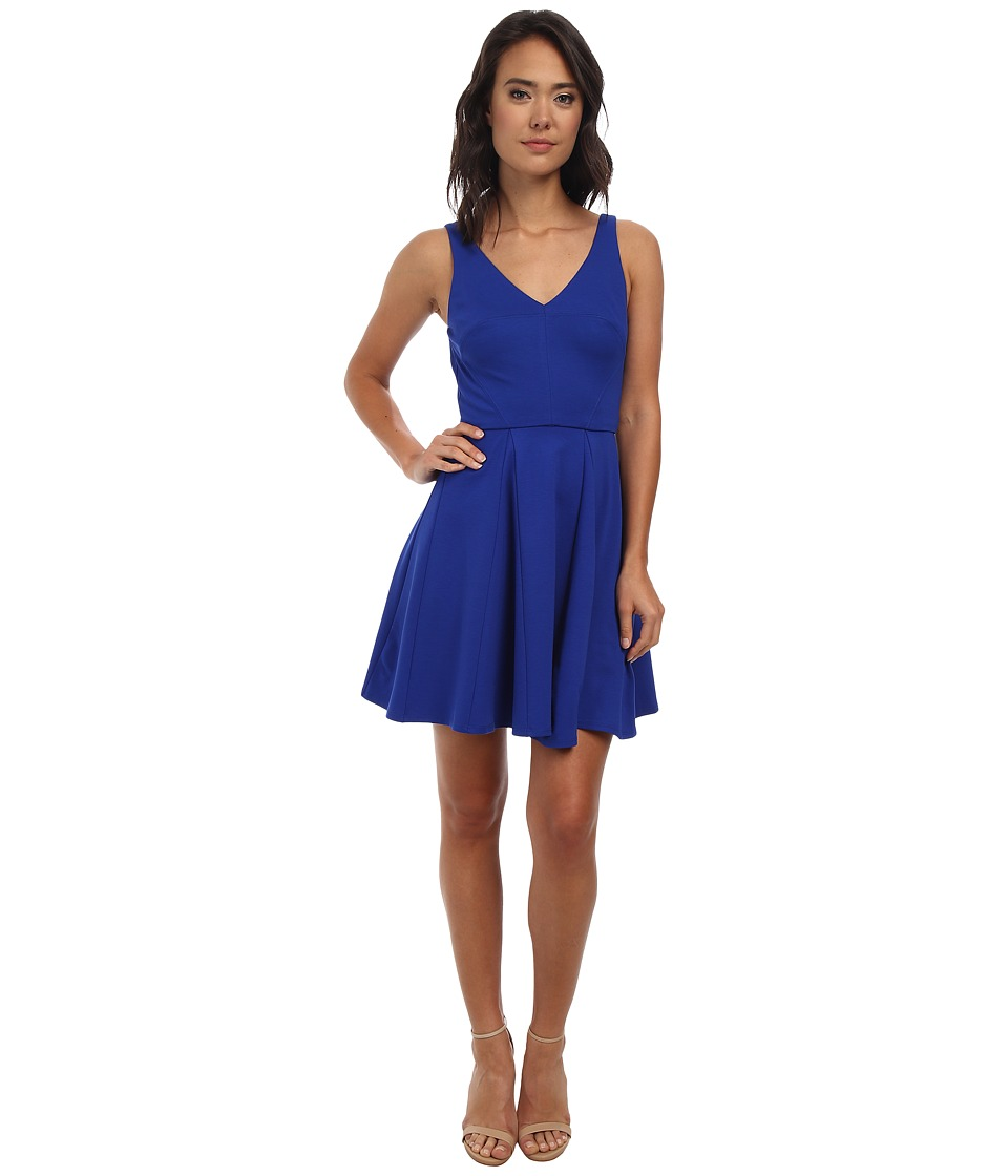 ABS Allen Schwartz Deep V Fit and Flare Dress (Royal) Women
