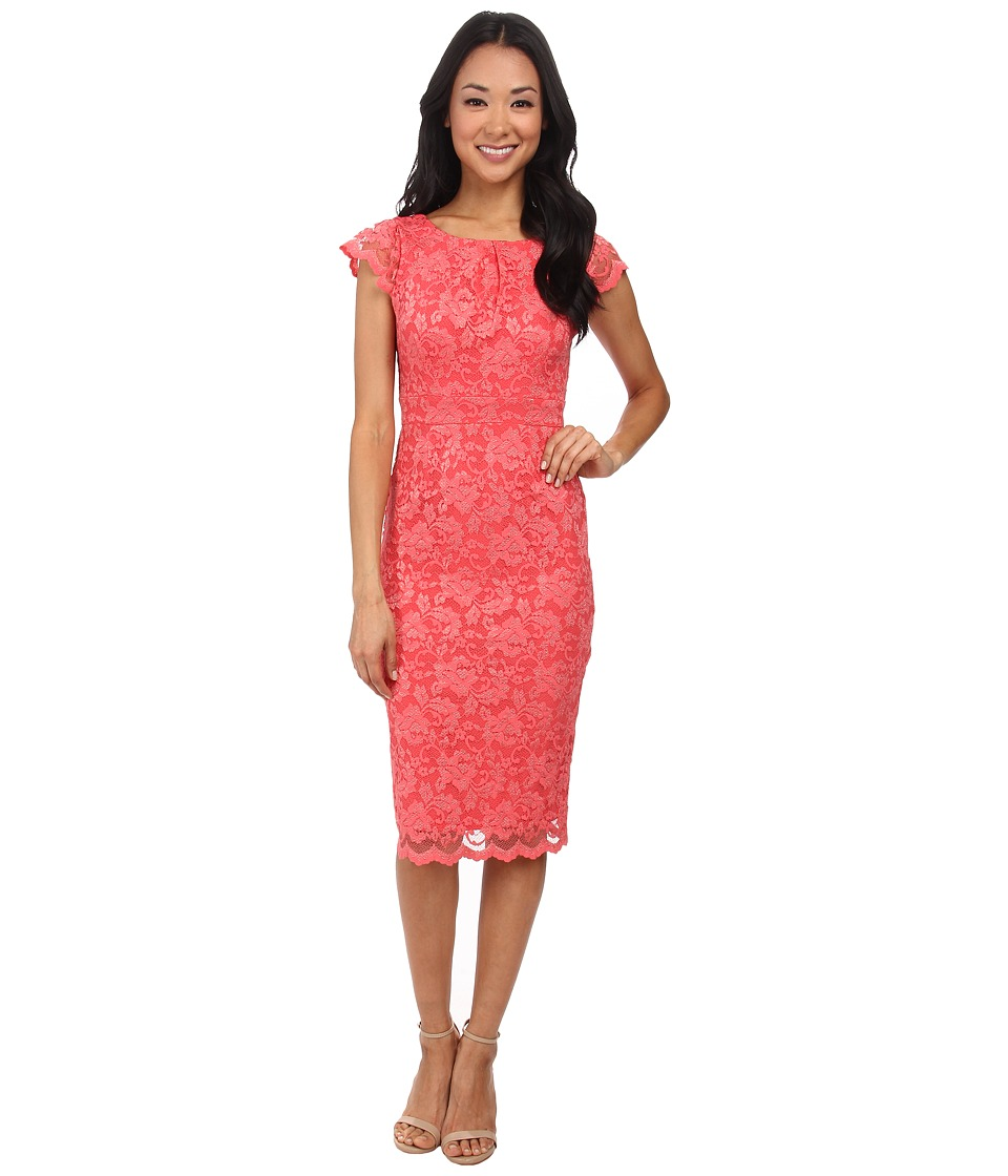 Image of ABS Allen Schwartz - Lace Dress With Exposed Back Zipper (Coral) Women's Dress