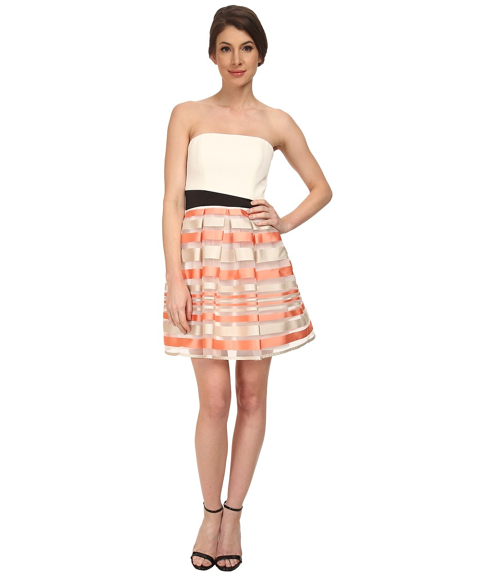 ABS Allen Schwartz Strapless Cocktail Dress w/ Stripe Skirt (Tangerine) Women