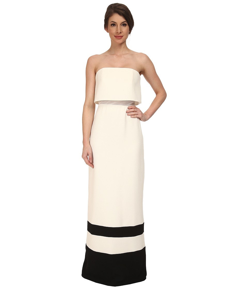 ABS Allen Schwartz Strapless Gown w/ Stripe Hem (Cream) Women
