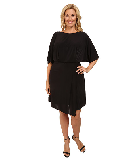ABS Allen Schwartz - Plus Size Batwing Deep V-Back Dress (Black) Women's Dress
