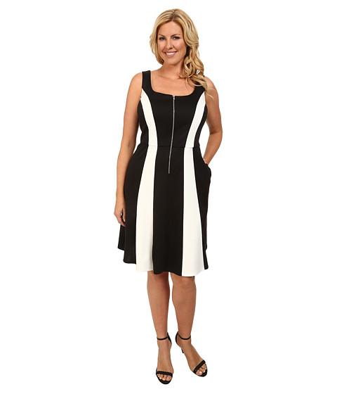 ABS Allen Schwartz - Plus Size Two-Tone Zipper Front Fit and Flare (Black) Women