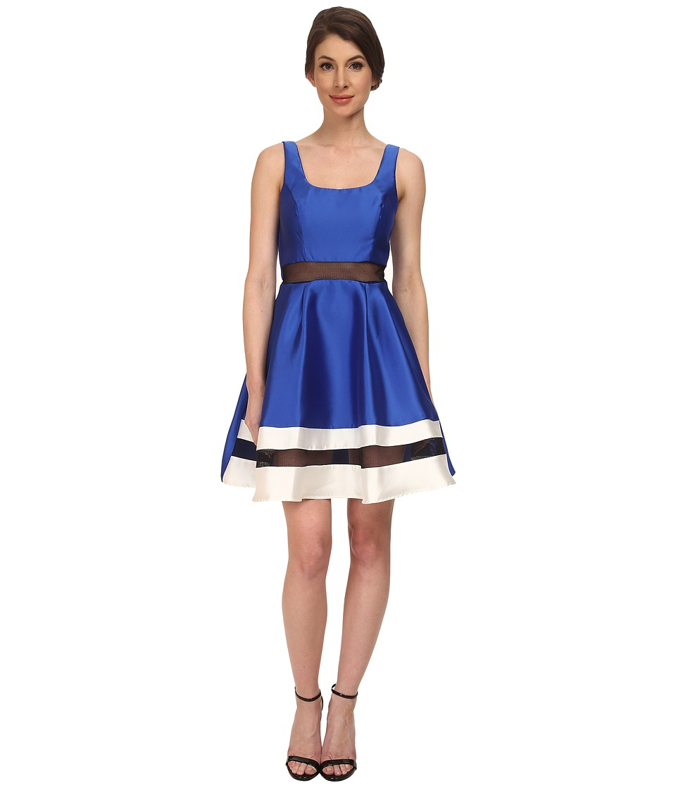 ABS Allen Schwartz Scoop Neck Contrast Hem Cocktail Dress (Royal) Women