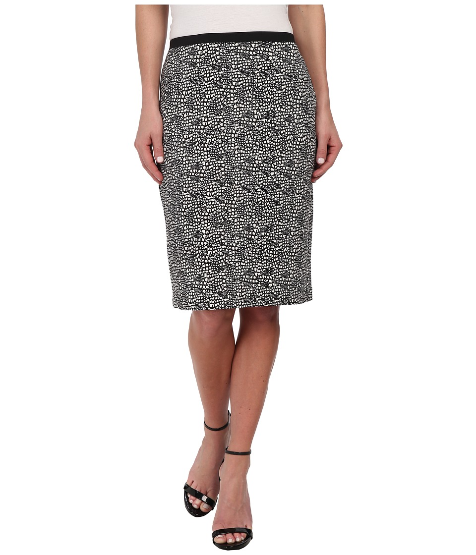 Calvin Klein - Printed Pencil Skirt (Black/Soft White Combo) Women