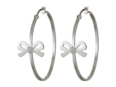 Betsey Johnson - Betsey Bow Hoops Earrings (Crystal/Silver Plate) Earring