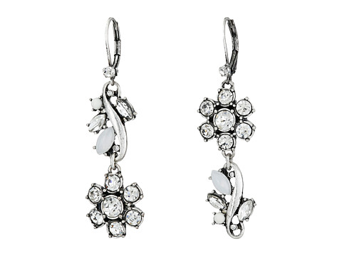 Betsey Johnson - Something New Flower Non-Matching Earrings (Crystal/Silver Ox Plate) Earring