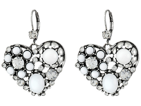 Betsey Johnson - Something New Heart Drops Earrings (Crystal/Silver Ox Plate) Earring