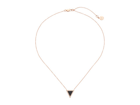 Michael Kors - Semi Precious Onyx Triange Pendant Necklace (Rose Gold/Black) Necklace